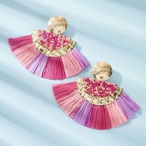 Round Beaded Fan Tassel Drop Earrings